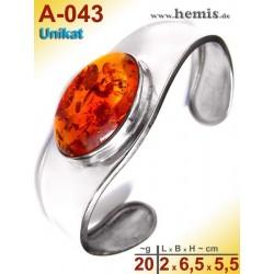 A-043 Bernstein-Armreif, Bernsteinschmuck, Silber-925