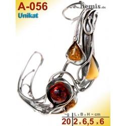 A-056 Bernstein-Armreif, Bernsteinschmuck, Silber-925