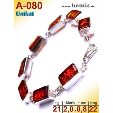 A-080 Bracelet, Amber jewellery, Sterling silver, 925