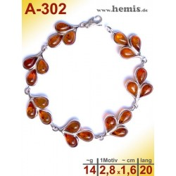 A-302 Bernstein-Armband, Bernsteinschmuck, Silber-925