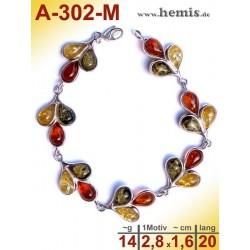 A-302-M Bernstein-Armband, Bernsteinschmuck, Silber-925