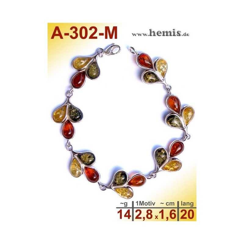 A-302-M  Amber Bracelet, Amber jewelry, silver-925