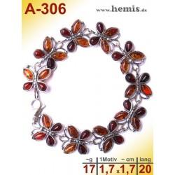 A-306 Bernstein-Armband, Bernsteinschmuck, Silber-925