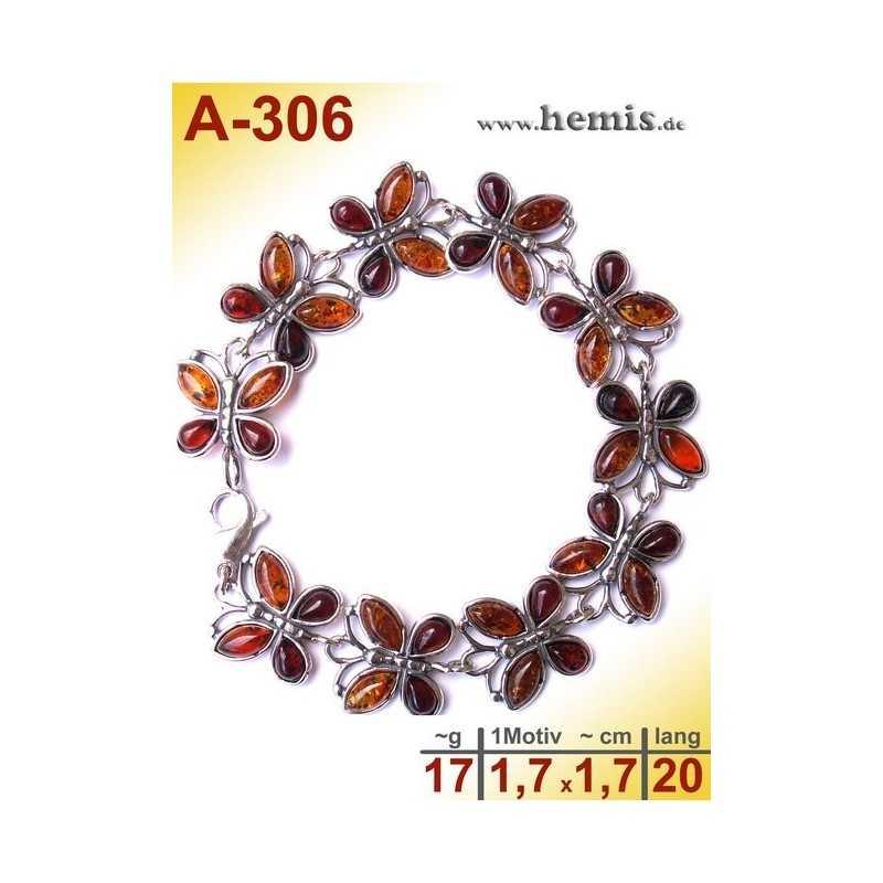 A-306 Bracelet, Amber jewellery, Sterling silver, 925
