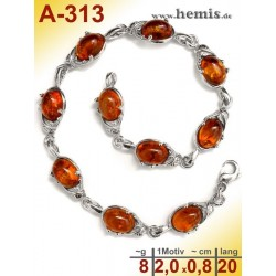 A-313 Bernstein-Armband, Bernsteinschmuck, Silber-925