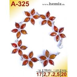 A-325 Bernstein-Armband, Bernsteinschmuck, Silber-925