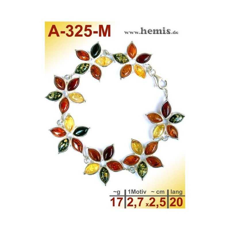 A-325-M Bracelet, Amber jewellery, Sterling silver, 925