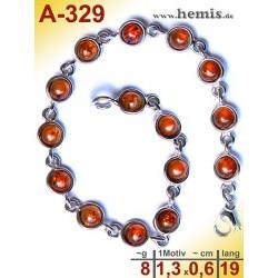 A-329 Bernstein-Armband, Bernsteinschmuck, Silber-925