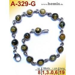 A-329-G Bracelet, Amber jewellery, Sterling silver, 925
