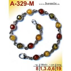 A-329-M Bernstein-Armband, Bernsteinschmuck, Silber-925