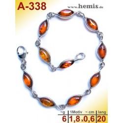 A-338 Bernstein-Armband, Bernsteinschmuck, Silber-925