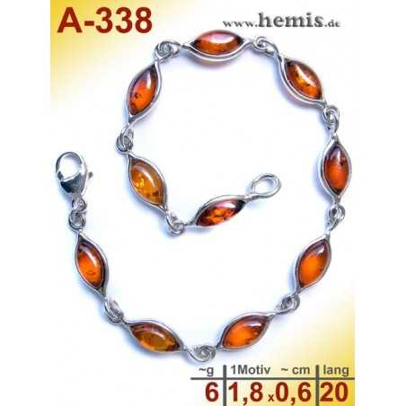 A-338 Bracelet, Amber jewellery, Sterling silver, 925
