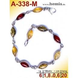 A-338-M Bernstein-Armband, Bernsteinschmuck, Silber-925