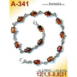 A-341  Amber Bracelet, Amber jewelry, silver-925
