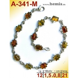 A-341-M Amber Bracelet, Amber jewelry, silver-925