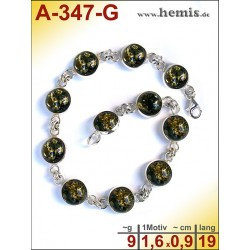 A-347-G Amber Bracelet, Amber jewelry, silver-925