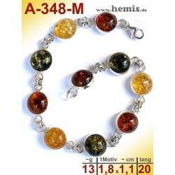 A-348-M Amber Bracelet, Amber jewelry, silver-925