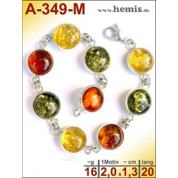 A-349-M Amber Bracelet, Amber jewelry, silver-925
