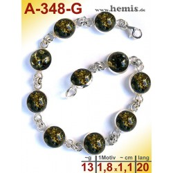 A-348-G Amber Bracelet, Amber jewelry, silver-925