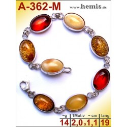 A-362-M Amber Bracelet, Amber jewelry, silver-925