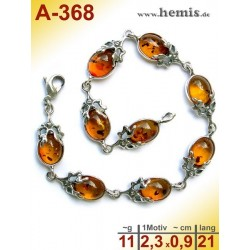 A-368 Amber Bracelet, Amber jewelry, silver-925