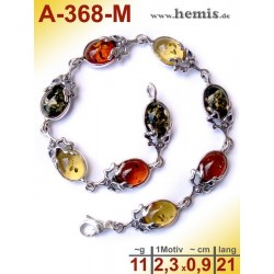 A-368-M Amber Bracelet, Amber jewelry, silver-925
