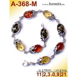 A-368-M Bernstein-Armband, Bernsteinschmuck, Silber-925