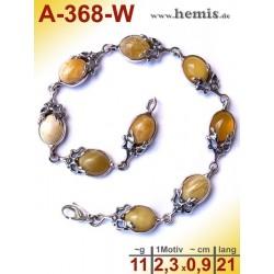 A-368-W Amber Bracelet, Amber jewelry, silver-925