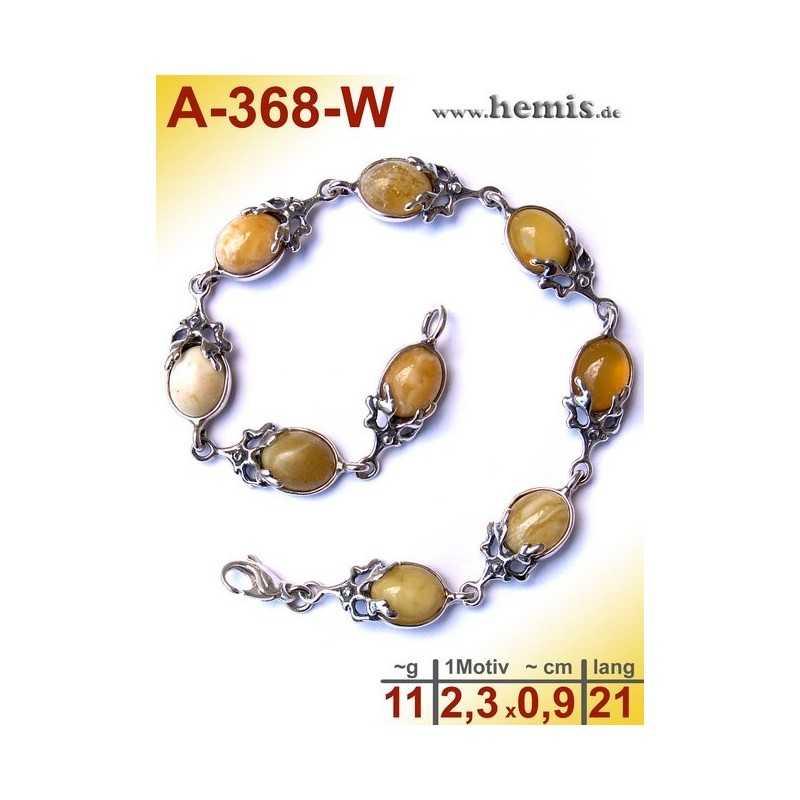 A-368-W Bernstein-Armband, Bernsteinschmuck, Silber-925