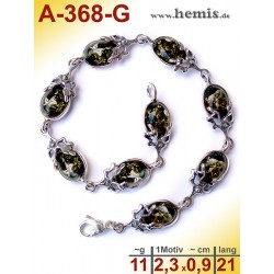 A-368-G Amber Bracelet, Amber jewelry, silver-925