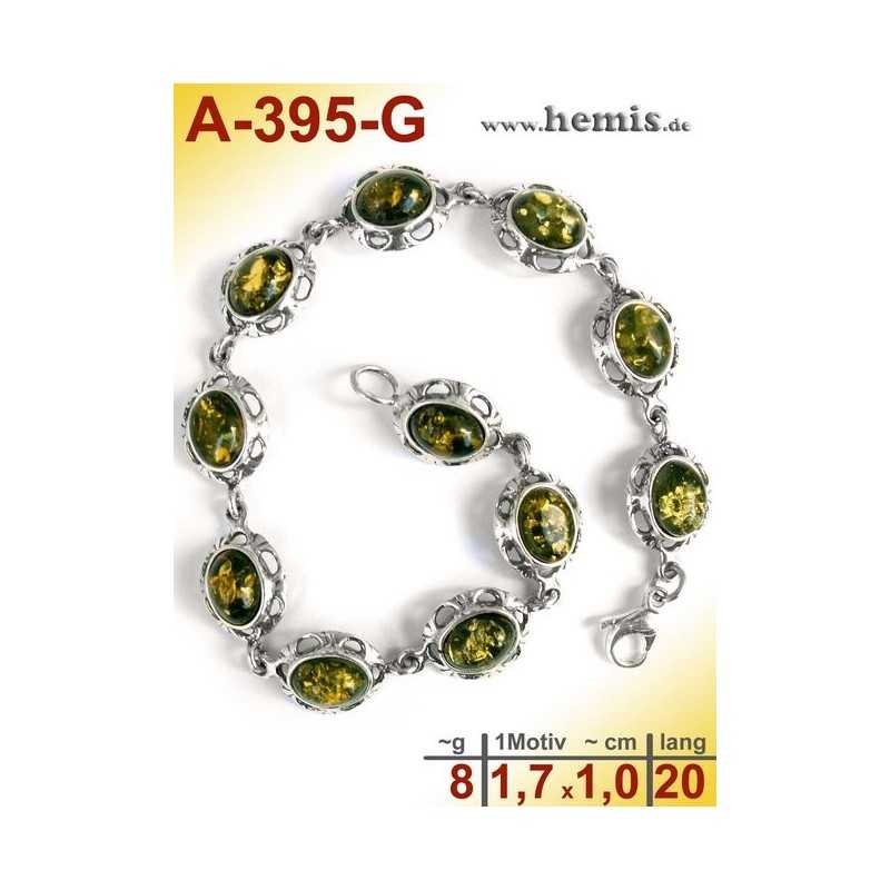 A-395-G Amber Bracelet, Amber jewelry, silver-925