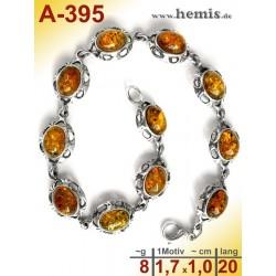 A-395 Bernstein-Armband, Bernsteinschmuck, Silber-925