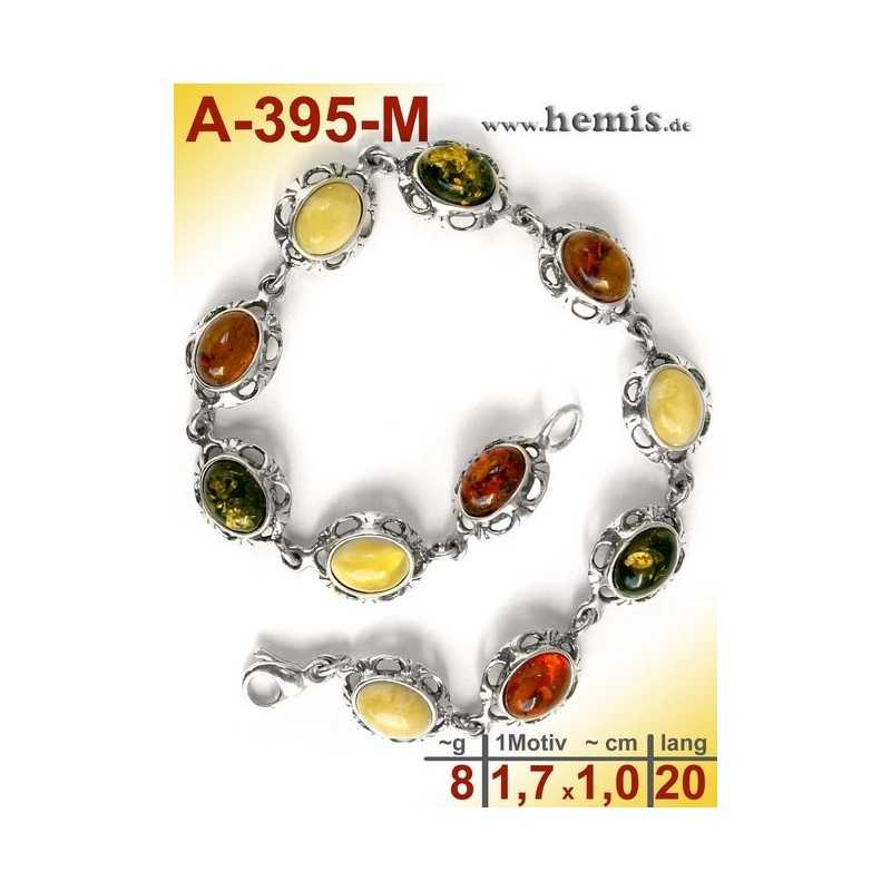 A-395-M Amber Bracelet, Amber jewelry, silver-925