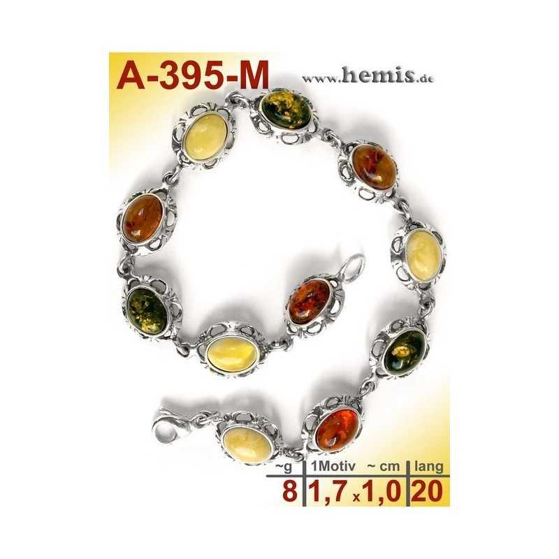 A-395-M Bernstein-Armband, Bernsteinschmuck, Silber-925