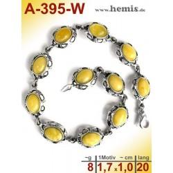 A-395-W Bernstein-Armband, Bernsteinschmuck, Silber-925