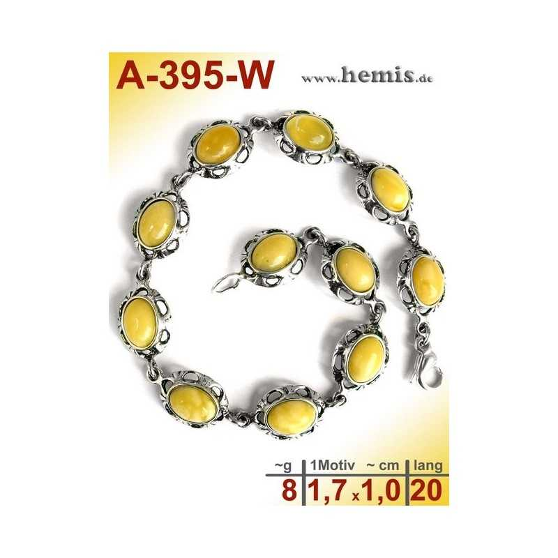 A-395-W Amber Bracelet, Amber jewelry, silver-925