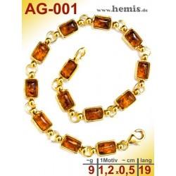 AG-001 Bernstein-Armband, Bernsteinschmuck, Silber-925