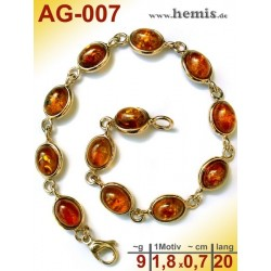 AG-007 Bernstein-Armband, Bernsteinschmuck, Silber-925, vergolde