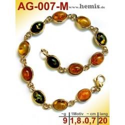 AG-007-M Bernstein-Armband, Bernsteinschmuck, Silber-925, vergol
