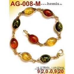 AG-008-M Bernstein-Armband, Bernsteinschmuck, Silber-925, vergol