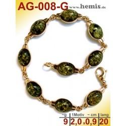 AG-008-G Bernstein-Armband, Bernsteinschmuck, Silber-925, vergol