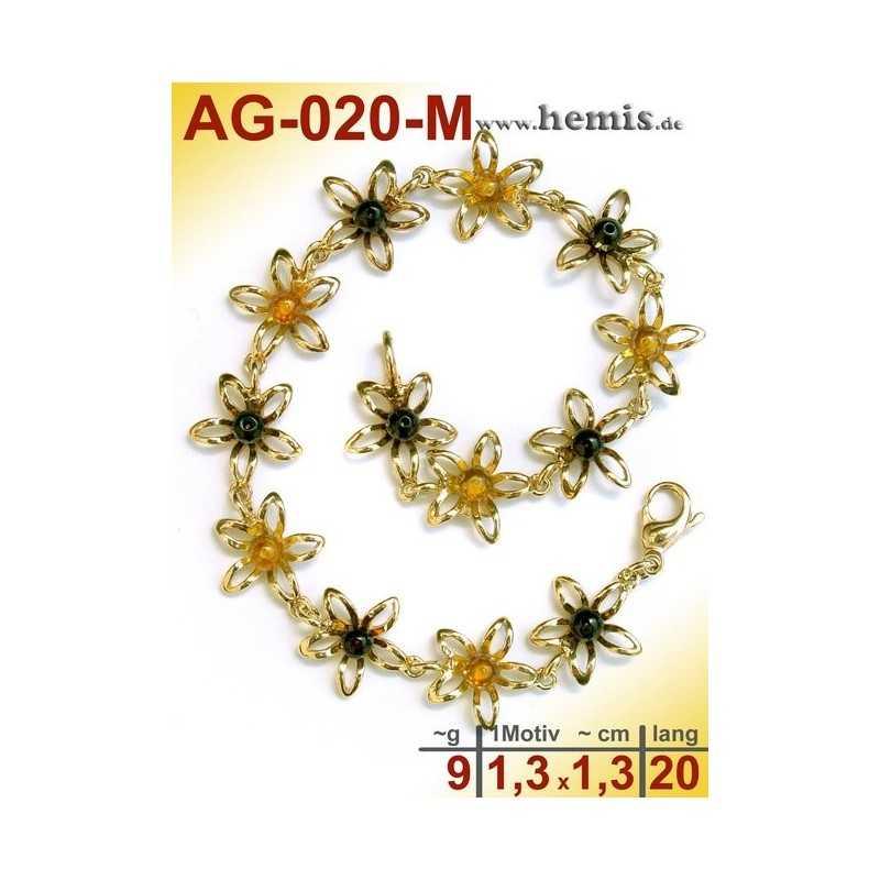 AG-020-M Bernstein-Armband, Bernsteinschmuck, Silber-925, vergol