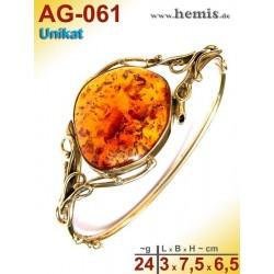 AG-061 Bernstein-Armreif, Bernsteinschmuck, Silber-925, vergolde