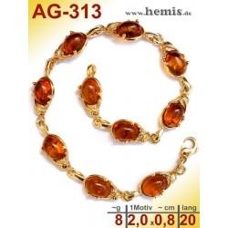 AG-313 Bernstein-Armband, Bernsteinschmuck, Silber-925, vergolde