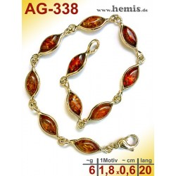 AG-338 Bernstein-Armband, Bernsteinschmuck, Silber-925, vergolde