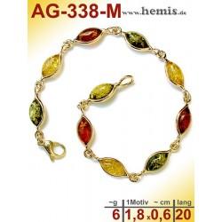 AG-338-M Bernstein-Armband, Bernsteinschmuck, Silber-925, vergol