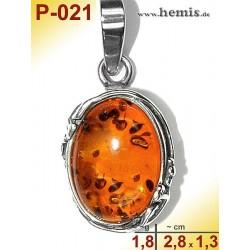 P-021 Bernstein-Anhänger-Silber-925-Amber-Jugendstil-Blattdekor