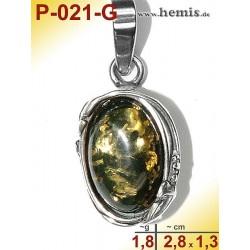 P-021-G Amber Pendant, Amber jewelry, silver-925