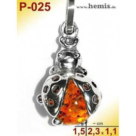 P-025 Amber Pendant, Amber jewelry, silver-925
