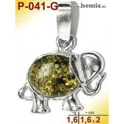 P-041-G Bernstein-Anhänger, Bernsteinschmuck, Silber-925, Elefan